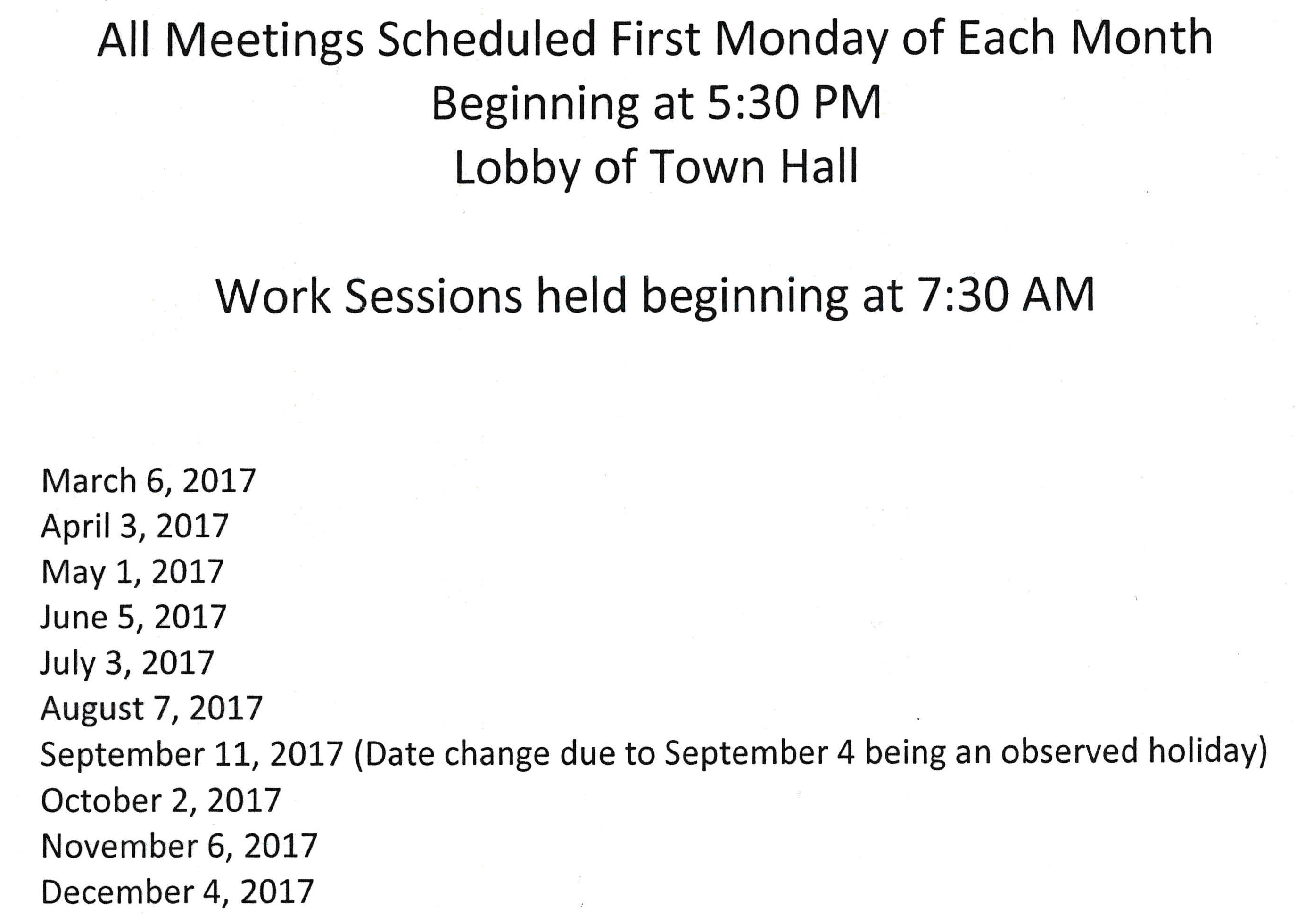 new town council meeting time - effective 02 06 2017