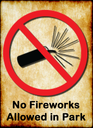No fireworks allowed in the park