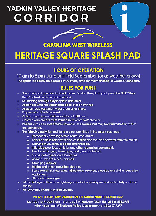 Splash Pad Rules and Regulations sign