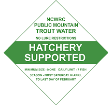 Trout Water Hatchery Supported Sign